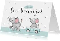 Felicitatiekaartje baby broertje olifantjes hartjes