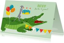 Felicitatiekaartje met krokodil en stokstaartje