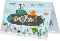 Felicitatiekaartje met vrolijke dieren in duikboot