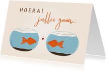 Felicitatiekaartje visjes die gaan samenwonen