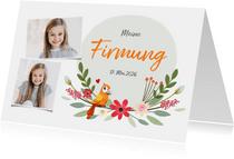 Firmungskarte Fotos Blumen & Papagei