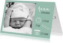 Foto geboortekaartje met iconen
