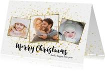 Foto kerstkaart met gouden spetters en typografie