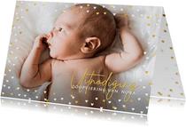 Foto-uitnodiging voor doop met een hart frame