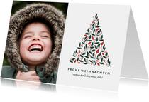 Foto-Weihnachtskarte mit grafischem Weihnachtsbaum
