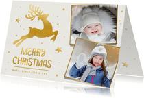 Foto-Weihnachtskarte mit Rentier in Goldlook