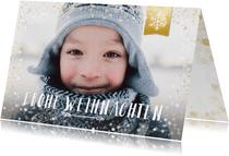 Foto-Weihnachtskarte mit Schneeflocke auf Label