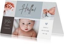 Fotocollage Geburtskarte Farbflächen graublau