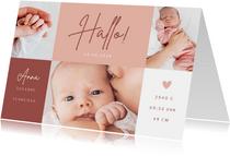 Fotocollage Geburtskarte Farbflächen rosa