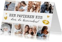 fotocollage kaart met 8 foto's - kus in brievenbus