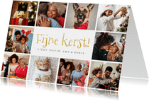 Fotocollage kerstkaart met 10 eigen foto's en gouden tekst