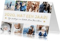 Fotocollage kerstkaart met 8 foto's - 2020 wat een jaar!