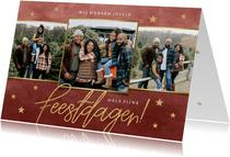 Fotocollage kerstkaart met gouden sterren Fijne Feestdagen