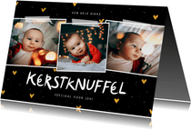Fotocollage kerstknuffel met gouden hartjes
