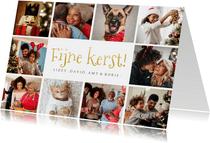 Fotocollage met 10 foto's in goud fijne kerst kerstkaart
