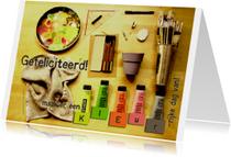 Verjaardagskaarten - Fotocollage schildersmateriaal