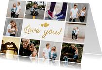 Fotocollagekaart met ruimte voor 10 eigen foto's en love you