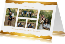 Fotokaart collage van 5 foto's met gouden verf stijlvol