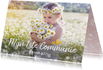 Fotokaart communie - uitnodiging communiefeest meisje