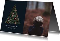 Fotokaart donker met botanische kerstboom en foto