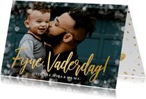 Fotokaart fijne vaderdag met 1 grote foto en goudlook kader