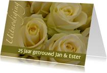 Fotokaart geel witte rozen