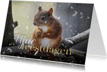 Fotokaart kerst eekhoorntje met sneeuw