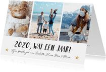 Fotokaart kerst sjabloon met 3 eigen foto's, tekst en namen
