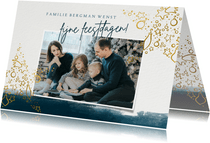 Fotokaart kerst sterren en waterverf