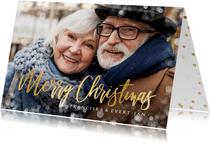 Fotokaart kerstmis grote foto en sneeuwkader