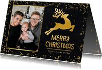 Fotokaart kerstmis - kerstkaart met rendier in goud en foto