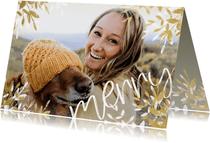 Fotokaart liggend stijlvol merry met gouden en witte takken