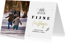 Fotokaart lijntekening huisje fijne feestdagen