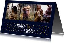 Fotokaart 'merry & bright' goudlook met foto's