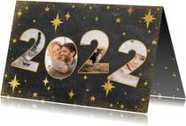 Fotokaart met 2022 fotocollage en sterren