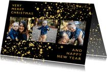 fotokaart met gouden confetti en typografie