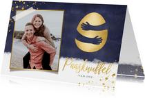 Fotokaarten - Fotokaart paasknuffel stijlvol met gouden ei en eigen foto