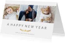 Fotokaart stijlvol met fotocollage met 3 foto's en takje