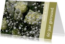 Fotokaart witte rozen 60 jaar
