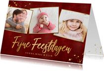 Fotokaarten fotocollage kerstkaart met gouden tekst