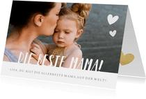 Fotokarte 'Die beste Mama' mit Herzen