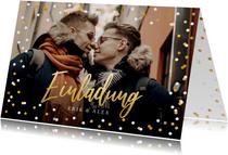 Fotokarte Einladung Freie Trauung Goldtext