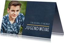 Fotokarte Einladung Jugendweihe schlicht blau