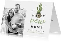 Fotokarte Einweihung 'happy new home' mit Kaktus
