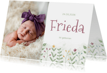 Fotokarte Geburt Blumenwiese