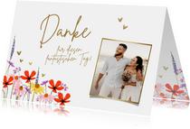 Fotokarte Hochzeit Danke Blumenwiese