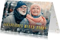 Fotokarte Neujahr Text in Goldoptik