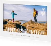 Fotokarte Urlaub mit kleinen Herzen