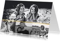 Fotokarte vier Fotos goldener Balken