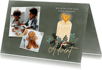 Fotokarte zum Advent Kerze mit Herzflamme